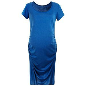 Maternity Sleeve Jersey Causual Dress Ruched Waist